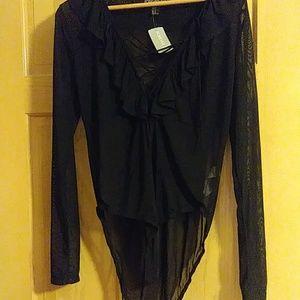 Forever 21 sheer ruffle bodysuit